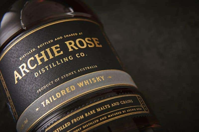 Close up on Archie Rose Label on bottle, one of the best whiskies from around the world