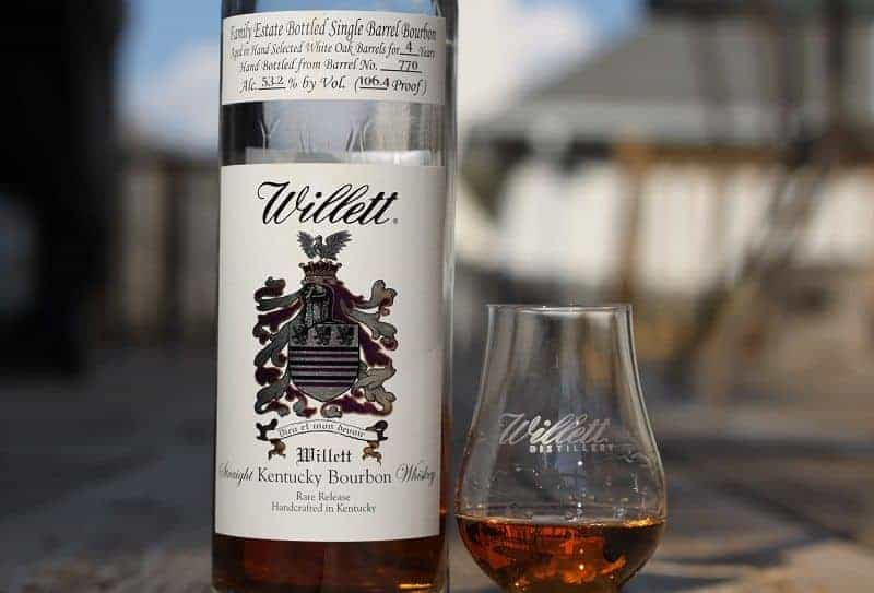 Bottle and glass of one of the Best Whiskies from around the world - The Willet.