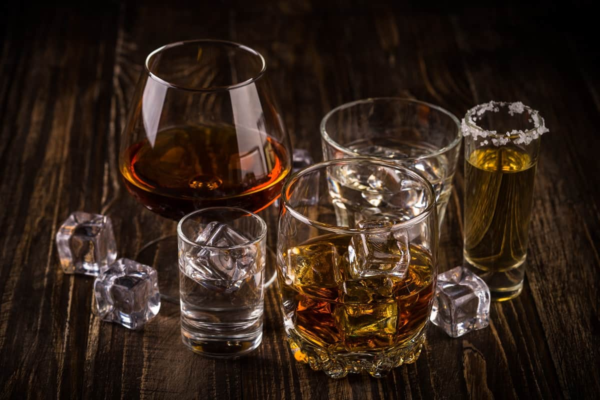 Diverse cups with different types of scotch
