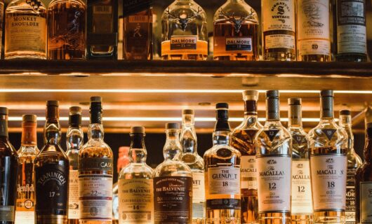 Bar shelf with scotch whisky brands