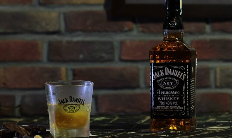 Bottle of Jack Daniels and a glass