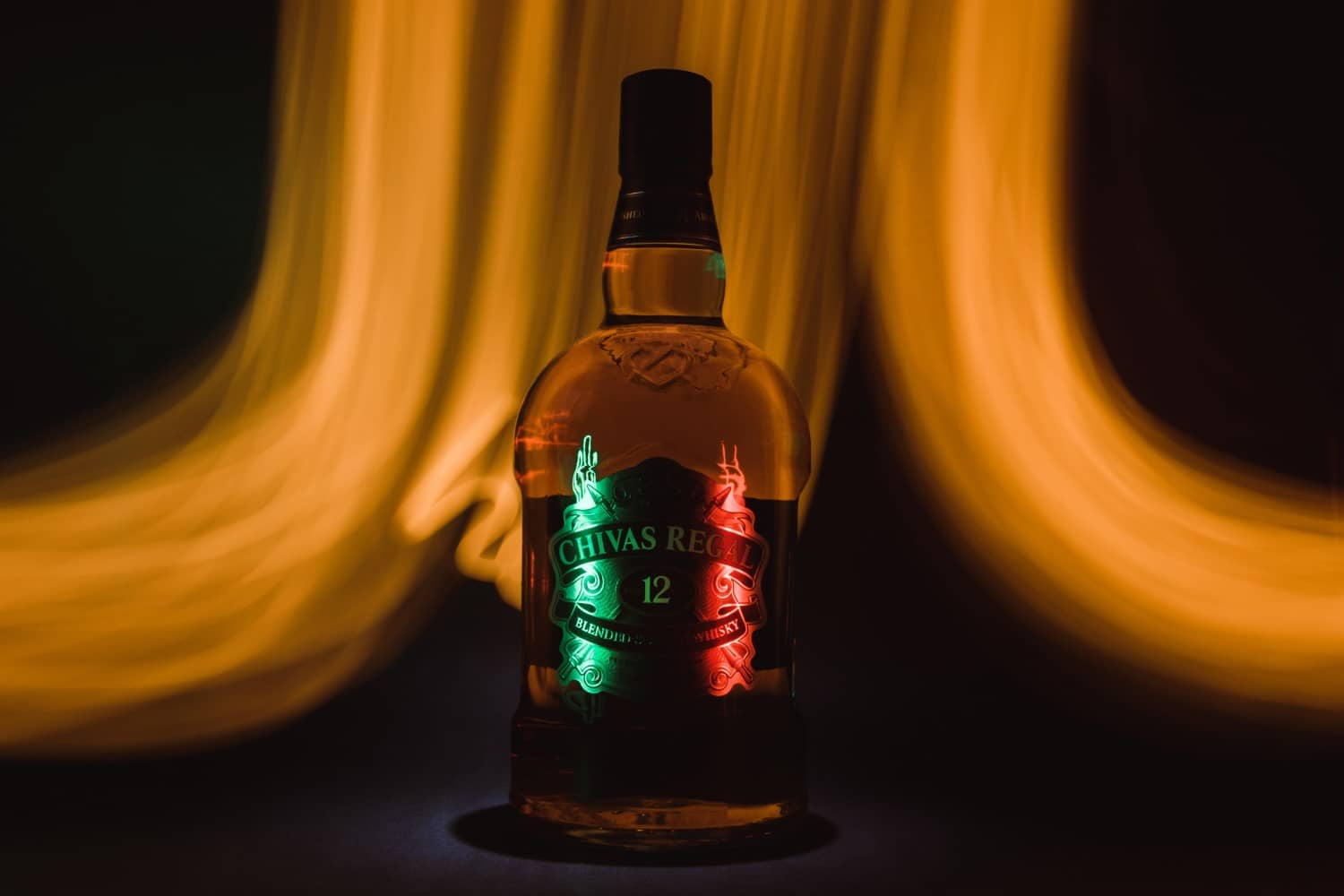 Bottle of Chivas Regal 12 years with light effects